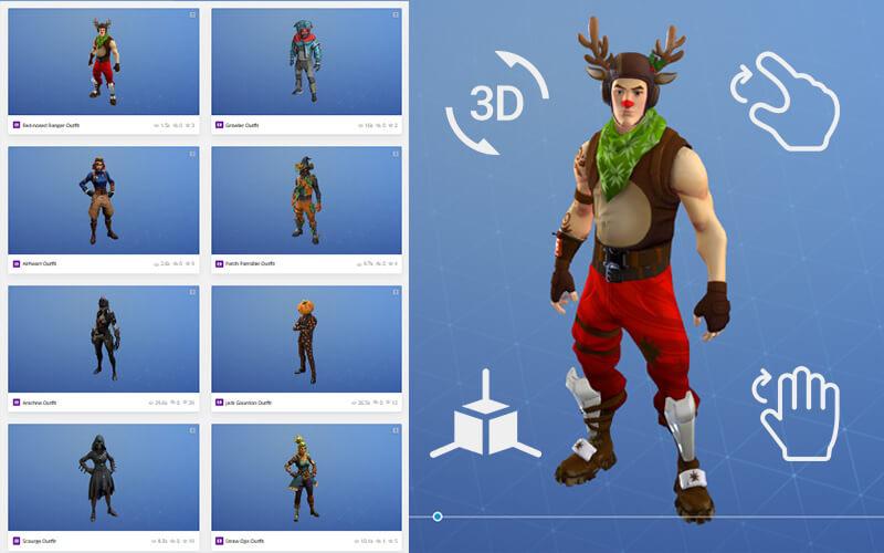 All Fortnite 3D Skins, 3D Outfits, 3D Emotes, Backpacks, 3D