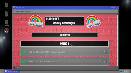 View Deadpool's Weekly Challenges and complete them